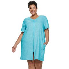 Plus Size Croft & Barrow® Waffle Texture Zip-Front Robe