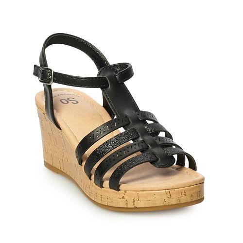 SO® Sunscreen Girls' Platform Wedge Sandals