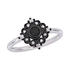 Stella Grace 10k White Gold 1/3 Carat T.W. Black & White Diamond Bohemian Ring