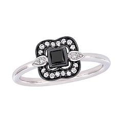 Stella Grace 10k White Gold 1/4 Carat T.W. Black & White Diamond Bohemian Ring