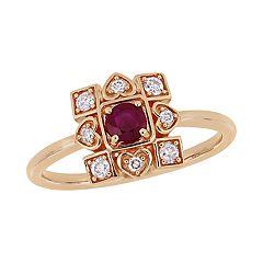 Stella Grace 10k Rose Gold 1/5 Carat T.W. Diamond & Ruby Ring