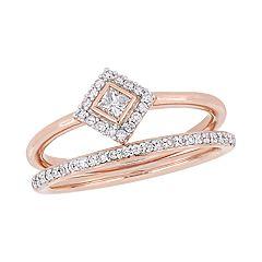 Stella Grace 10k Rose Gold 1/3 Carat T.W. Diamond Bridal Set Ring