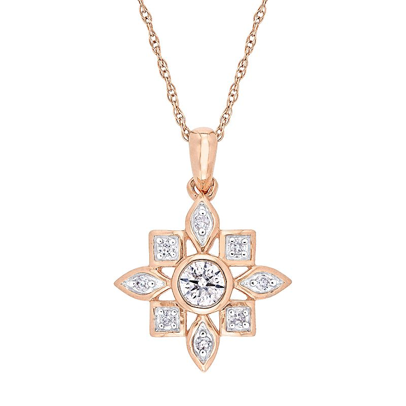 "Stella Grace 10k Rose Gold 1/3 Carat T.W. Diamond Pendant Necklace, Women's, Size: 17"", Pink"