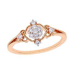 Stella Grace 10k Rose Gold 1/6 Carat Diamond Cluster Ring