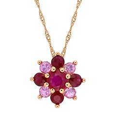 Stella Grace 14K Gold Ruby & Pink Sapphire Pendant Necklace