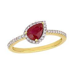 Stella Grace 14K Gold 1/5 Carat T.W. Diamond & Ruby Teardrop Ring