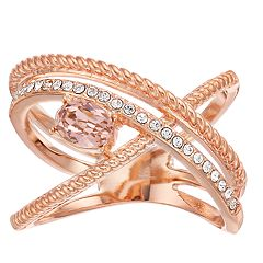 Brilliance 18k Rose Gold Plated Double Wrap Ring with Swarovski Crystals