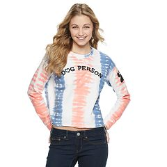 Juniors' Tie-Dye 'Dog Person' Graphic Crop Tee
