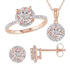 Stella Grace 10k Rose Gold 1/5 Carat T.W. Diamond & Morganite 3-Piece Ring, Earring & Pendant Set