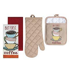 The Big One® Coffee Print Kitchen Towel, Pot Holder & Oven Mitt Set
