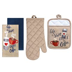 The Big One® Coffee Print Kitchen Towel, Pot Holder & Oven Mitt Set