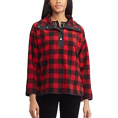 Women's Chaps Plaid 1/2-Snap Fleece Jacket