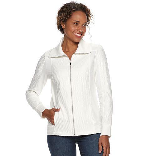Petites Croft & Barrow® Textured Zip-Front Jacket