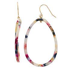 Multi Color Oval Hoop Drop Earrings