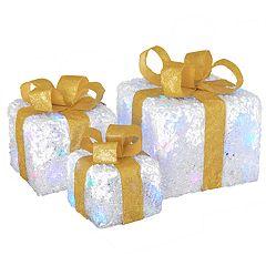 National Christmas Tree Pre-Lit White Gift Box Floor Decor 3-piece Set