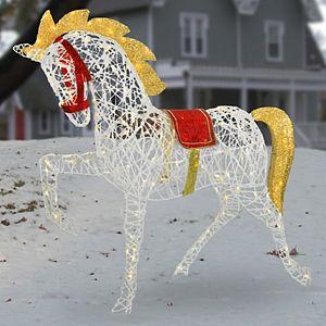 "National Christmas Tree 48"" Pre-Lit Carnival Horse Floor Decor"