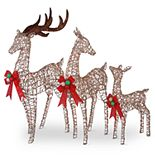 National Christmas Tree Deer Family Floor Decor