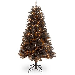 National Tree Co. 4 1/2' North Valley Black Spruce Hinged Artificial Christmas Tree with Clear Lights