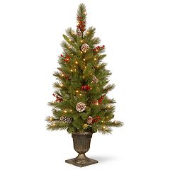 National Tree Co. 4 ft. Bristle Berry Entrance Artificial Christmas Tree with Clear Lights