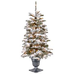 National Tree Co. 4 ft. Snowy Camden Entrance Artificial Christmas Tree with Clear Lights