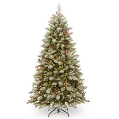 National Tree Co. 7 1/2' Feel Real Snowy Bristle Berry Hinged Artificial Christmas Tree with Berries, Cones & Clear Lights