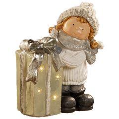 National Christmas Tree 15' Lighted Gift and Girl Floor Decor