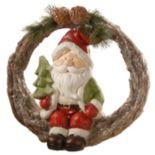 "National Christmas Tree 14"" Santa Wreath Decor"