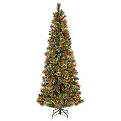 National Tree Co. 7 ft. Glittering Pine Pencil Slim Artificial Christmas Tree with Multicolor Lights