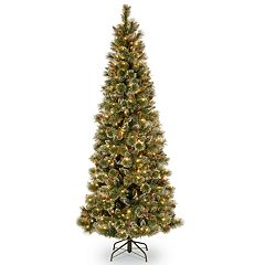 National Tree Co. 7 ft. Glittering Pine Pencil Slim Artificial Christmas Tree with Clear Lights