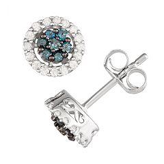 Sterling Silver 1/2 Carat T.W. Blue & White Diamond Halo Stud Earrings