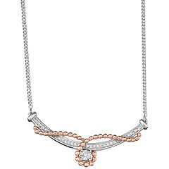 Two Tone Sterling Silver 1/6 Carat T.W. Diamond Curved Bar Necklace