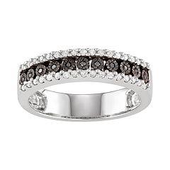 Sterling Silver 1/4 Carat T.W. Black & White Diamond Ring