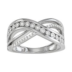 Sterling Silver 1/5 Carat T.W. Diamond Crisscross Ring
