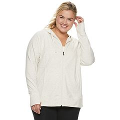 846bfe660 Plus Size Tek Gear® Hooded Zip Up Jacket. Charcoal Modern White ...