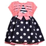 Toddler Girl Bonnie Jean Striped Polka-Dot Dress