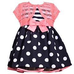 Toddler Girl Bonnie Jean Striped Polka-Dot Dress