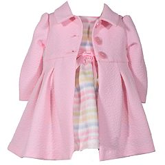 Toddler Girl Bonnie Jean Striped Dress & Textured Coat Set