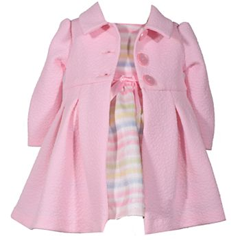5d51d12e6fd Toddler Girl Bonnie Jean Striped Dress & Textured Coat Set