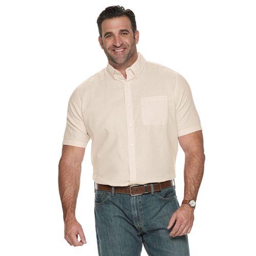 Big & Tall Croft & Barrow® Linen-Blend Easy-Care Button-Down Shirt