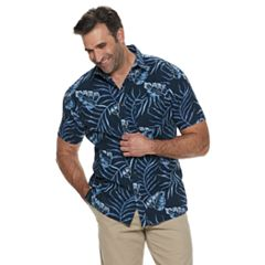 Big & Tall Croft & Barrow® Tropical Linen-Blend Easy-Care Button-Down Shirt
