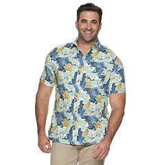 Big & Tall Croft & Barrow® Tropical Linen-Blend Easy-Care Button-Down Shirt