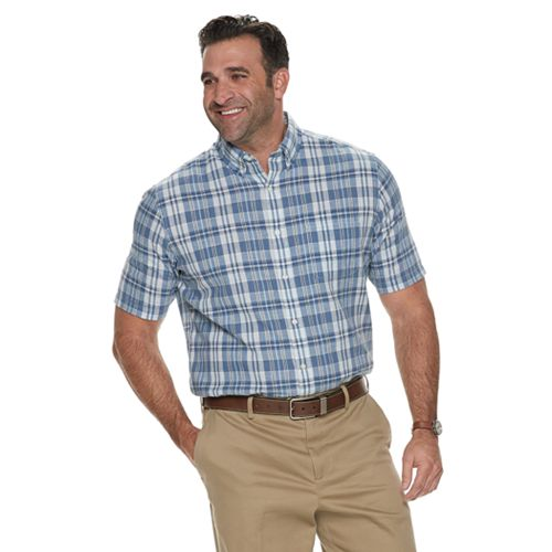 Big & Tall Croft & Barrow® Plaid Linen-Blend Easy-Care Button-Down Shirt