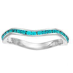 be3b58a07617 Brilliance Swarovski Birthstone Stackable Wave Ring