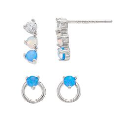 Opalescent Sterling Silver Simulated Opal & Cubic Zirconia Drop Earrings Set