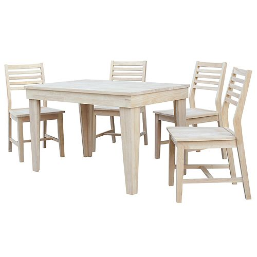 International Concepts Unfinished Dining Table Chair 5