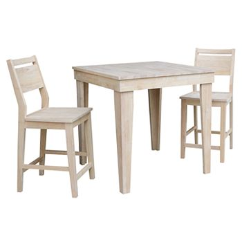 International Concepts Unfinished Dining Table Counter Stool 3 Piece Set
