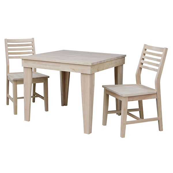 International Concepts Aspen Unfinished Dining Table Chair 3 Piece Set