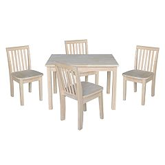 Kids International Concepts Unfinished Dining Table & Chair 5-piece Set