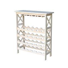 International Concepts Unfinished Wine & Glass Storage Cabinet