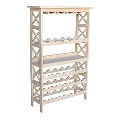 International Concepts Unfinished Wine Storage & Glass Storage Cabinet